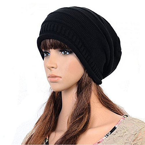 Frau Wintermütze Damen Wollmütze Weiche Warme Woll Strick Lady Hat Baggy Hat (schwarz)
