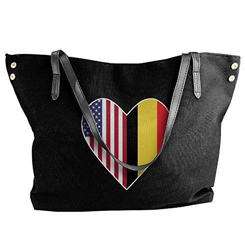 Black Love Women's Half Shoulder Flag Handbag USA Flag Belgium Half Large Canvas Heart Tote Handbags PP8UfB6q