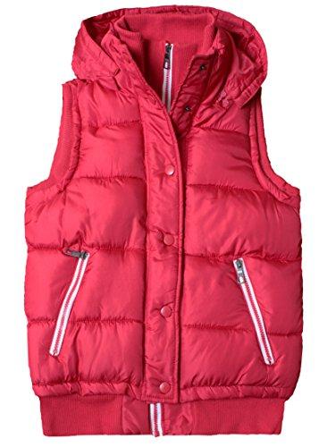Capuche Quilted Femmes Vest Rouge Crop Top Bodywarmer Gilet Manches A Sans qIIxrtHwR