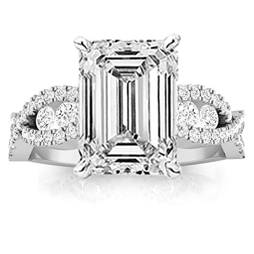1.31 Carat Designer Twisting Eternity Channel Set Four Prong Emerald Cut Diamond Engagement Ring (D Color VS1 Clarity Center Stones)