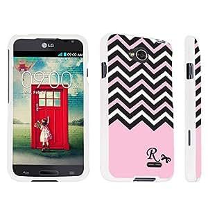 DuroCase ? LG Optimus L70 / LG Optimus Exceed 2 Hard Case White - (Black Pink White Chevron R)