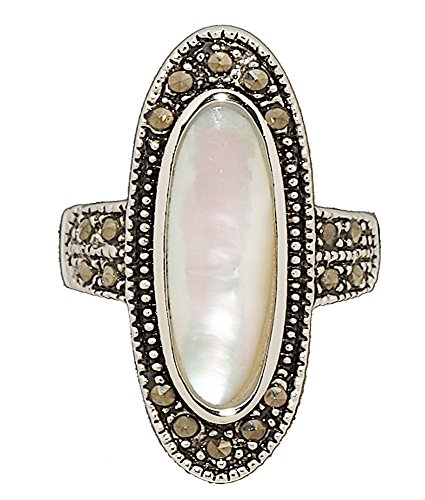 Glamour Rings Genuine Mother of Pearl and Marcasite Statement Ring in Rhodium Size 7
