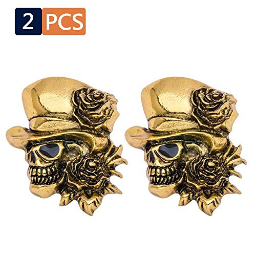 2PCS Skull Pins ,  Women's & Men's Mini Mental Alloy Lapel Stick Skeleton With Hat Shape ,  Vintage Novelty Head Face Halloween , Wedding  And Party Props For Suit Tuxedo , Jacket , Shirt ,  Tie Gold ()