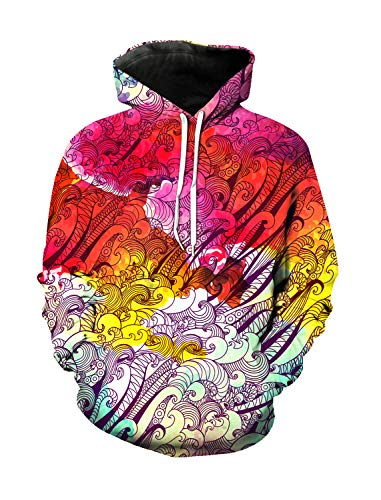 WAZZIT Unisex 3D Printed Long Sleeve Hoodies Hooded Casual Sweatshirts Pocket Pullover, M ()