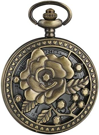 YXZQ懐中時計、アンティークブロンズローズ花透かし5先の尖ったフラワーカバー花籐中空ネックレスペンダントアートコレクション