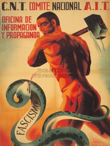 Wee Blue Coo War Spanish Civil Cnt AIT Anti Fascist Republican Spain Snake Unframed Wall Art Print Poster Home Decor Premium