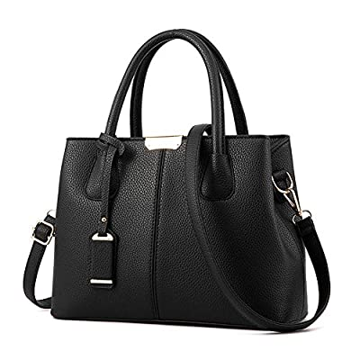 Covelin Women's Top-handle Cross Body Handbag Middle Size Purse Durable Leather Tote Bag