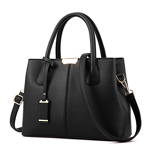 Covelin Women's Top-handle Cross Body Handbag Middle Size Purse Durable Leather Tote Bag Black