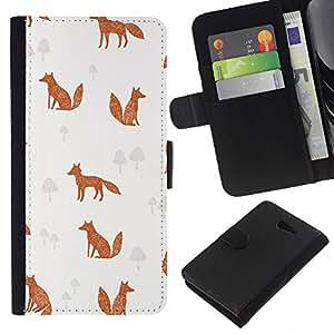 KLONGSHOP // Tirón de la caja Cartera de cuero con ranuras para tarjetas - Patrón Canela Fox Clever Animal - Sony Xperia M2 //