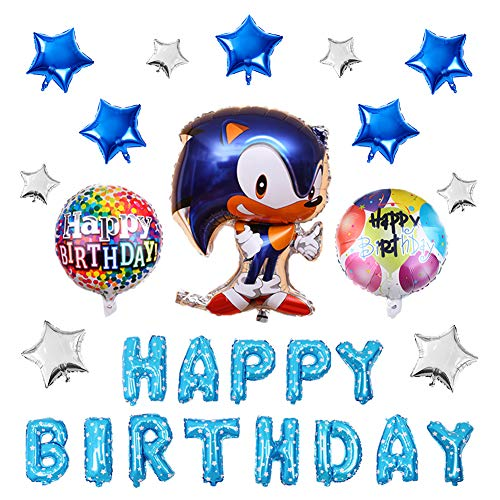 17PCS Sonic the Hedgehog Balloons Birthday Party Supplies Set, Happy Birthday Banner Foil Balloon for Kids Baby Shower Birthday Party