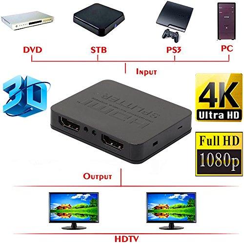 Xindda Ultra HD 4K HDMI Splitter 1X2 2 Port Repeater Amplifier Hub 3D 1080p 1 in 2 Out(Black)