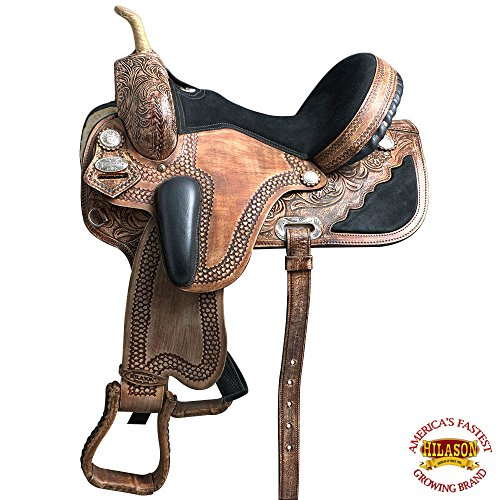 HILASON 14 WESTERN DRESSAGE FLEX TREE BARREL RACING TRAIL SADDLE