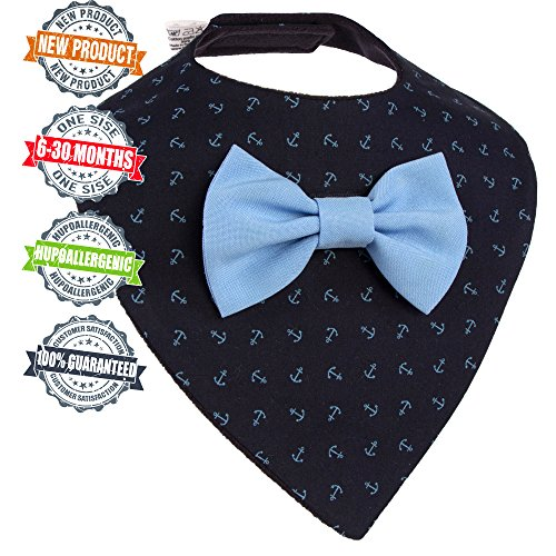 Premium Baby Bandana Drool Bib removable Bow-Tie one size For Boys aged from 3 to 30 months Perfect Gift – Baby shower, Birthday, Christmas (light (Removable Bow)