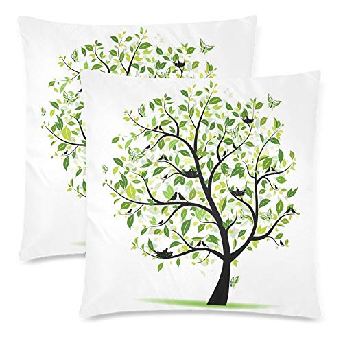 a PIN Custom 2 Pack Green Spring Tree with Bird Throw Cushion Pillow Case CoversTwin Sides, Tree of Life Cotton Zippered Pillowcase Sets Decorative (40.64cm x 40.64cm)