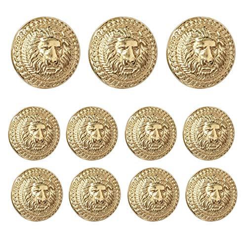 [해외]Grekywin 사자 머리 원형 금속 빈티지 버튼 코트 블레이저 정장 유니폼 재킷 등 (골드) 11 PCs / Grekywin Lion Head Circular Metal Vintage Button for Coat Blazer Suits Uniform Jacket etc (Gold) 11 Pcs
