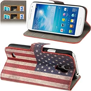Retro USA Flag Pattern Horizontal Flip Leather Case with Credit Card Slot & Holder for Samsung Galaxy S4 mini / i9190