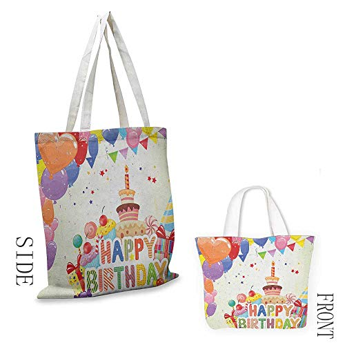 Natural canvas tote Birthday Heart Shaped Funny Balloons Cupcakes Candies Presents and Party Hats Occasion Leisure travel bag 16.5