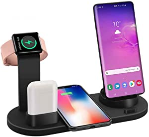 Charging Dock Stations | 4-In-1 Charger Stand Wireless Charging Station for Multiple Devices Multi-Device Charger for Apple Product iPhone Se 2020/11/11 /XS/8 Samsung Galaxy S20 AirPods iWatch (Black)