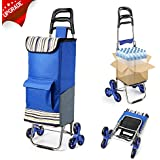 Upgraded Folding Shopping Cart Stair Climbing Cart with Quiet Rubber Tri-Wheels Grocery Utility Cart with Wheel Bearings & Platform for Laundry 2018 Version