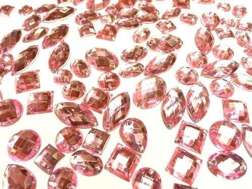 CraftbuddyUS 80 Pink Faceted Acrylic Sew On, Stick on Diamante Crystal Rhinestone Gems -