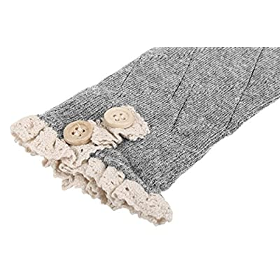 Avidlove Women Socks Lace Trim Leg Warmers Button Boot Cuffs Toppers Light Gray (FBA) at Women's Clothing store