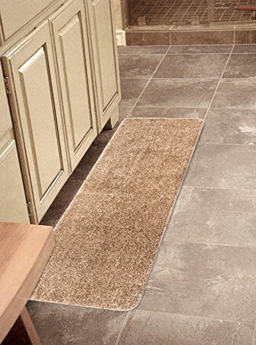 "Ottomanson Softy Collection Color Solid (Machine-Washable/Non-Slip) Kitchen/Bathroom Mat Rug, Beige, 20"" x 59"""