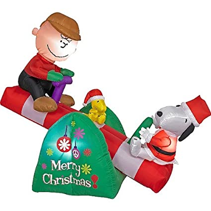 amazoncom 5 long charlie brown snoopy teeter totter animated airblown inflatable outdoor and patio furniture sets garden outdoor
