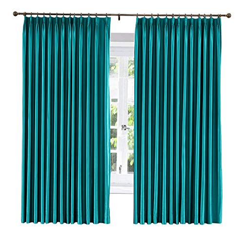 ChadMade Soundproof Energy Saving Polyester Cotton Silk Solid Curtain Peacock 120