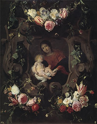 (Oil Painting 'Seghers Daniel Schut Cornelis Guirnalda Con La Virgen Y El Nino 17 Century' 24 x 31 inch / 61 x 78 cm , on High Definition HD canvas prints is for Gifts And Bed Room, Foyer And N decor)