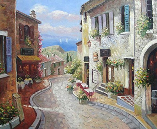 100% Hand Painted Canvas Oil Painting for Wall Art Decor, Italian Hilltop Village Mediterranean Oil Painting