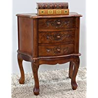 International Caravan 3876-IC Furniture Piece Carved Wood Three Drawer Scalloped Night Stand, 0