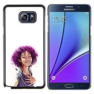 YiPhone /// Prima de resorte delgada de la cubierta del caso de Shell Armor - Púrpura Afro Chica - Samsung Galaxy Note 5 5th N9200