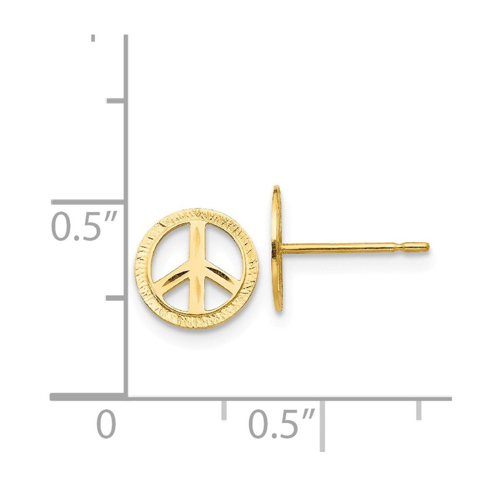 Madi K 14k Yellow Gold Polished Small Peace Sign Post Stud Earrings