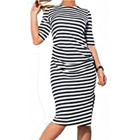 AIMTOPPY Women Striped Fashion Plus Size Knee-length Loose O-Neck Casual Dress