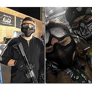 Outgeek Airsoft Half Face Mask Steel Mesh Goggles Set Halloween Xmas