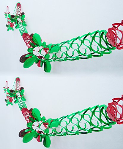 Pack of 4 Foil Designs- Red and Green Foil Garland Christmas Decoration - Square Shaped Pattern