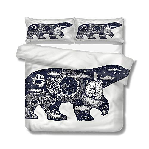 Mademai Twin Size Duvet Cover Set Cabin,Polar Bear Tattoo Art Style Decorative 3 Piece Bedding Set with 2 Pillow Shams (Life Love And A Polar Bear Tattoo)