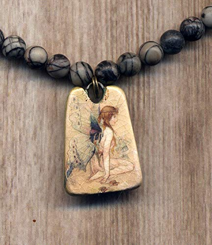 Fairy Pendant Necklace, Butterfly Fairy China Necklace, Ming Pottery Style Shard Pendant, Fairy Necklace, Zebra Jasper Necklace, Recycled Porcelain Jewelry by Annaart72 ()