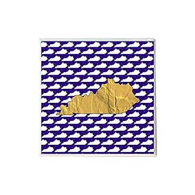 Gold Kentucky Shape on Blue White Coaster