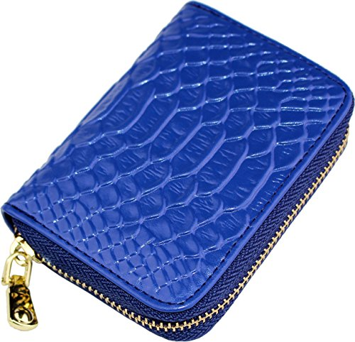 Cute Card Case Small Wallets For Women RFID Blocking Mini Ladies Coin Purse (Glossy-Blue)
