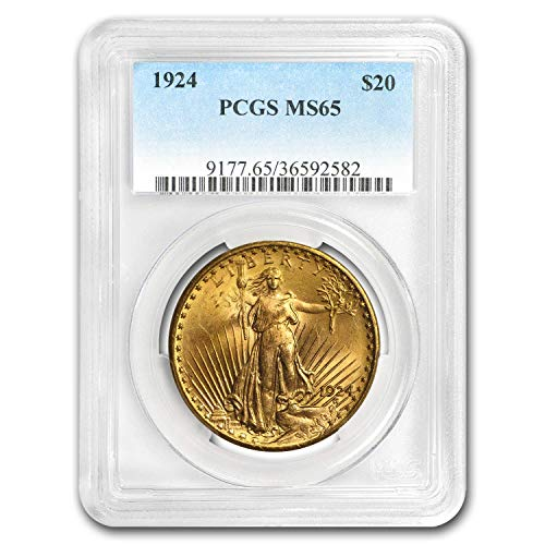 - 1924 $20 St. Gaudens Gold Double Eagle MS-65 PCGS G$20 MS-65 PCGS