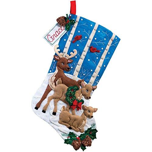 Bucilla 18-Inch Christmas Stocking Felt Applique Kit, 86502 Deer Family]()