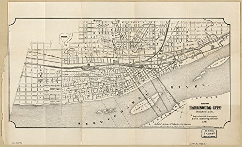Vintage 1901 Map of Harrisburg City, Dauphin Co. Pa. Harrisburg, Pennsylvania, United (City Of Harrisburg)