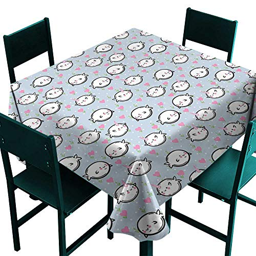 Warm Family Narwhal Polyester tableclothColorful Polka Dotted and Heart Pattern Background with Cartoon Character Whales Indoor Outdoor Camping Picnic W63 x L63