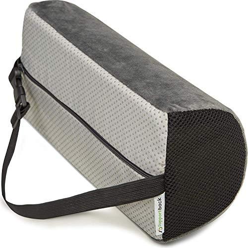 Supportiback® Cojin Lumbar en D para terapia de postura. Con espuma de memoria, cojin ergonomico para casa, oficina, coche, viajes. Descansa y previene dolor de espalda superior e inferior