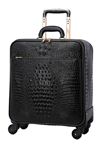 Men Genuine Leather Cowhide Crocodile Pattern Spinner Travel Luggage - 16 Inch Black Crocodile Travel Bag