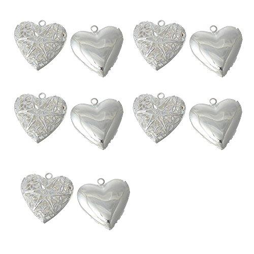 Miraclekoo Silver Plated Heart Shape Photo Locket Charm Pendant Filigree,10 (10 Silver Plated Filigree)