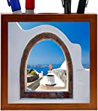 Rikki Knight Greek White Washed Window to Paradise Design 5-Inch Wooden Tile Pen Holder (RK-PH8976)