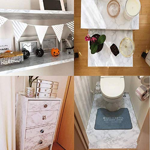 practicalWs 11.8 x78.7Marble Paper Granite Gray/White Roll Kitchen countertop Furniture is renovated Thick Wallpaper PVC (11.8x78.7) Easy to Apply Peel and Stick Upgrade
