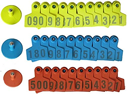 Goat Sheep Pig 1-100 Number Plastic Livestock Ear Tag With Yellow Color